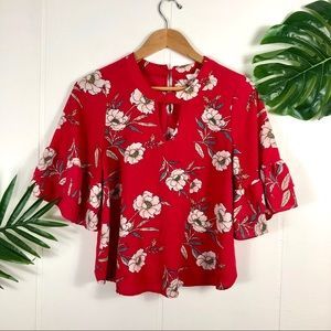 Urban Romantics Red Floral Bell Sleeve Crop Top M
